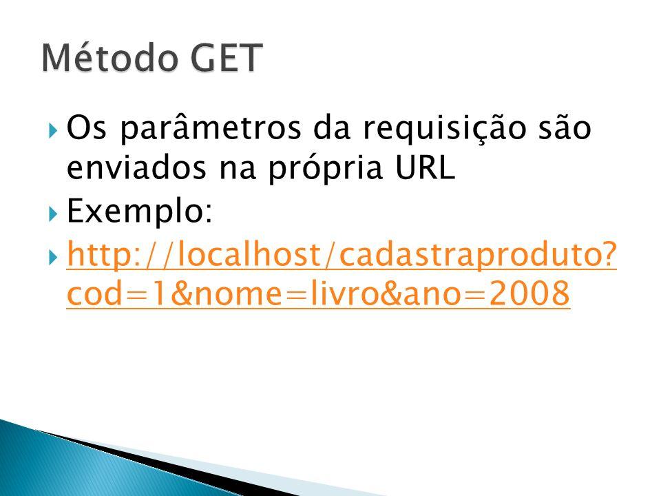 Método GET Os parâmetros da requisição são enviados na própria URL