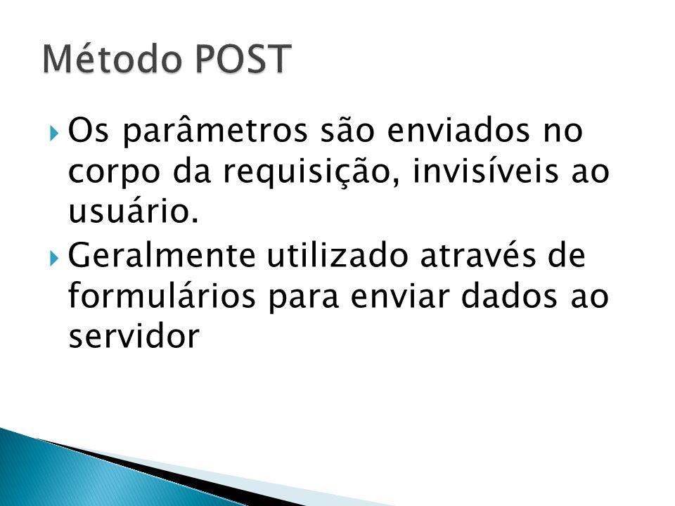 Método POST Os parâmetros são enviados no corpo da requisição, invisíveis ao usuário.