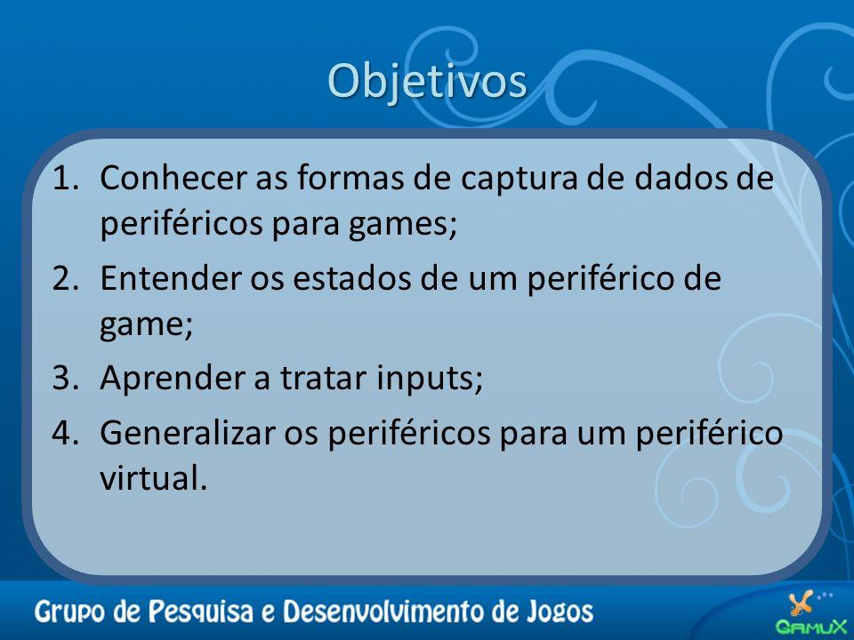 Objetivos Conhecer as formas de captura de dados de periféricos para games; Entender os estados de um periférico de game;