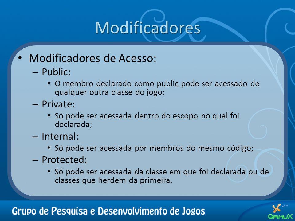 Modificadores Modificadores de Acesso: Public: Private: Internal: