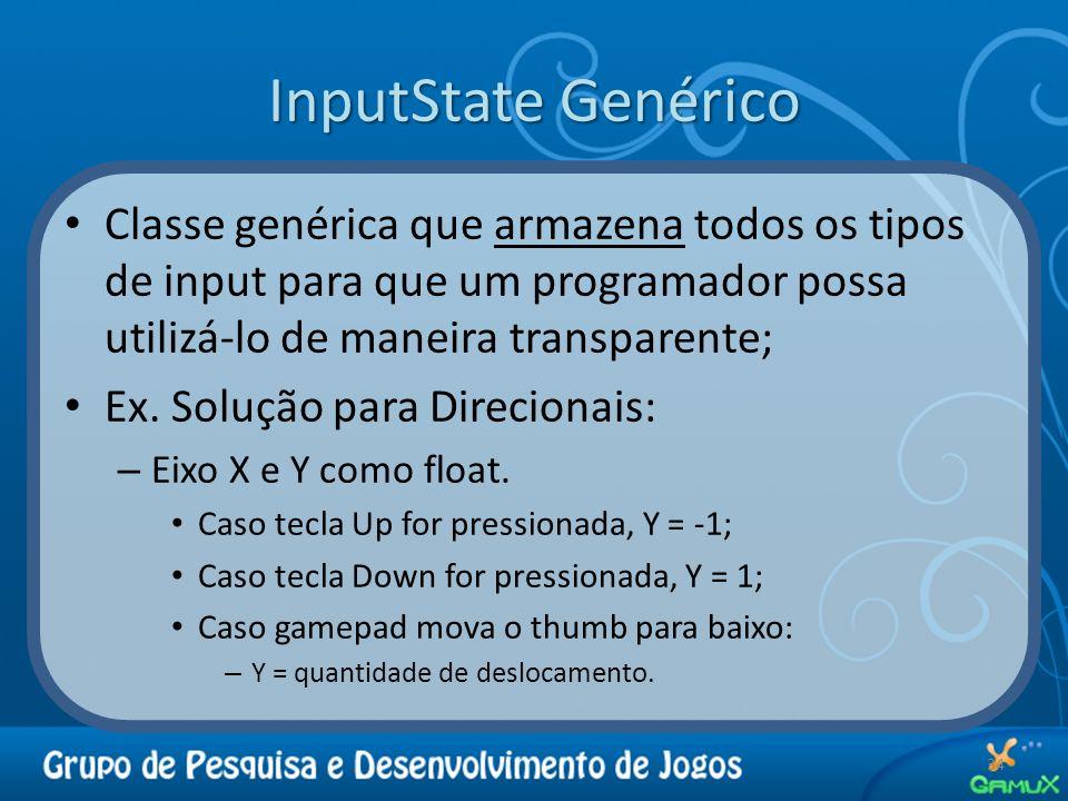 InputState Genérico Classe genérica que armazena todos os tipos de input para que um programador possa utilizá-lo de maneira transparente;