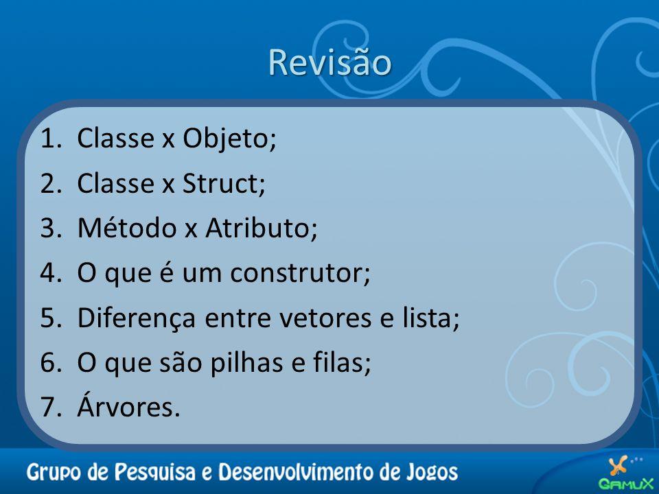 Revisão Classe x Objeto; Classe x Struct; Método x Atributo;