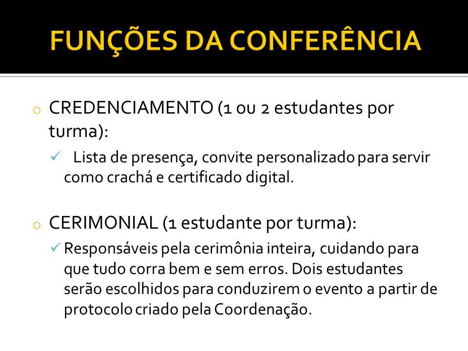 FUNÇÕES DA CONFERÊNCIA