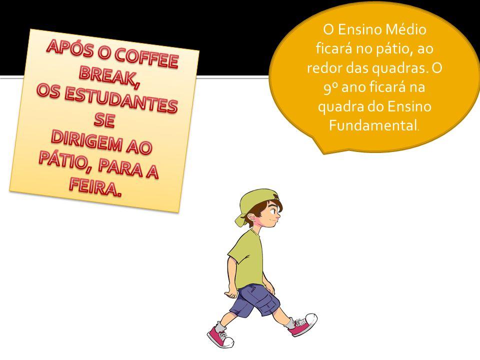 APÓS O COFFEE BREAK, OS ESTUDANTES SE DIRIGEM AO PÁTIO, PARA A FEIRA.