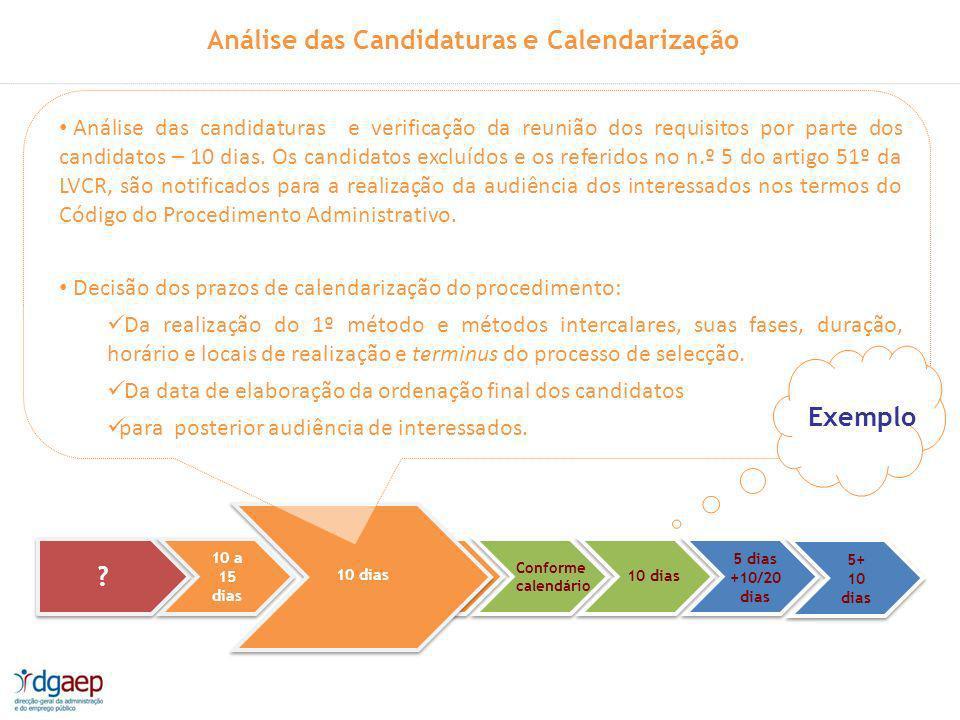 Análise das Candidaturas e Calendarização