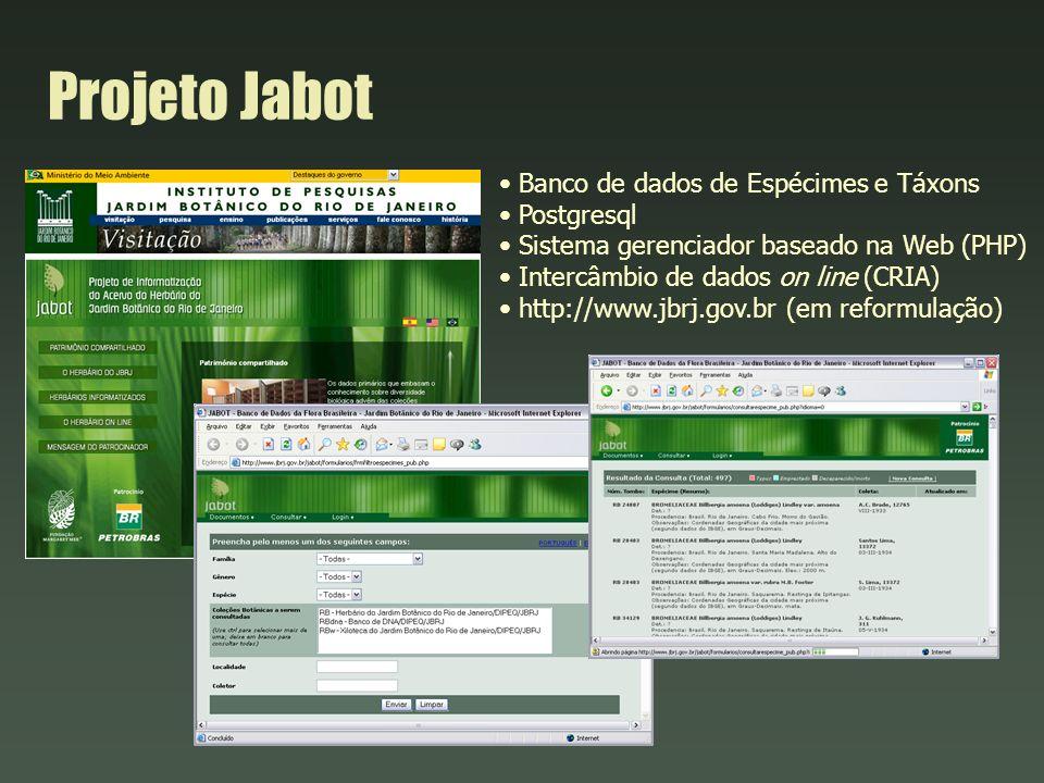 Projeto Jabot Banco de dados de Espécimes e Táxons Postgresql