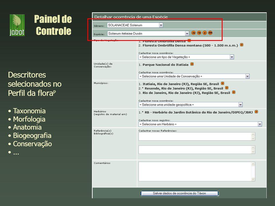 Painel de Controle Descritores selecionados no Perfil da floraP