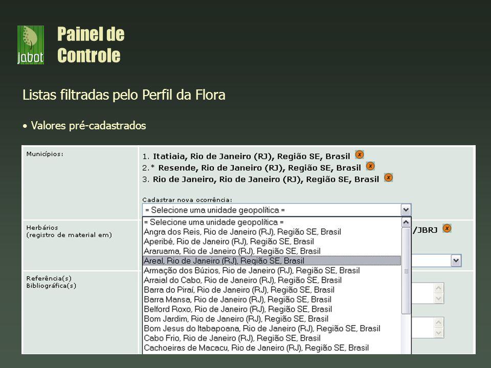 Painel de Controle Listas filtradas pelo Perfil da Flora