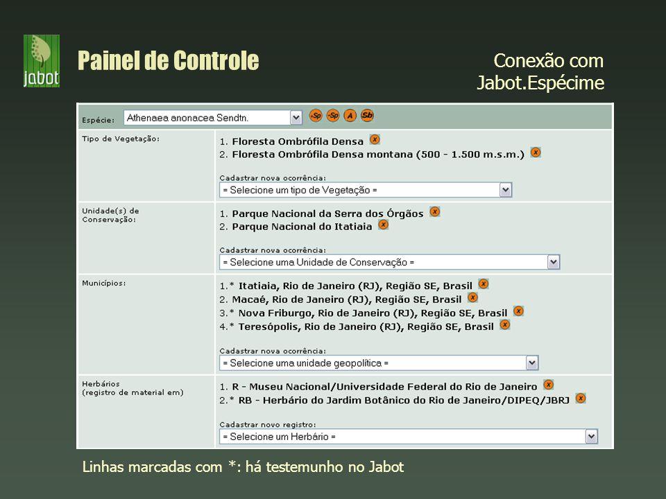 Painel de Controle Conexão com Jabot.Espécime