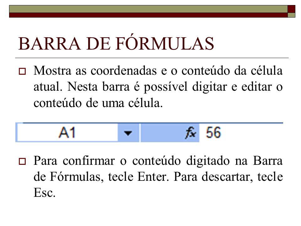 BARRA DE FÓRMULAS Mostra as coordenadas e o conteúdo da célula atual. Nesta barra é possível digitar e editar o conteúdo de uma célula.