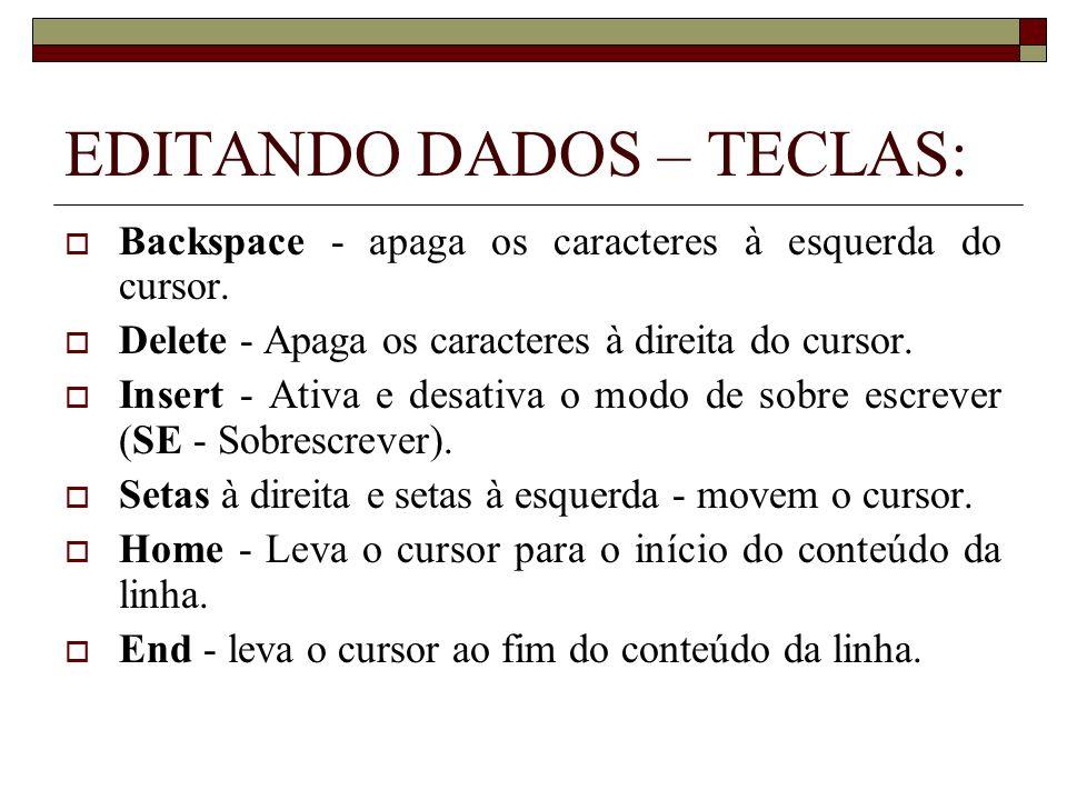 EDITANDO DADOS – TECLAS: