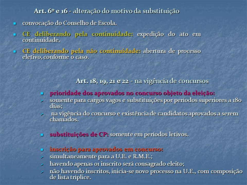 Art. 6º e 16 - alteração do motivo da substituição