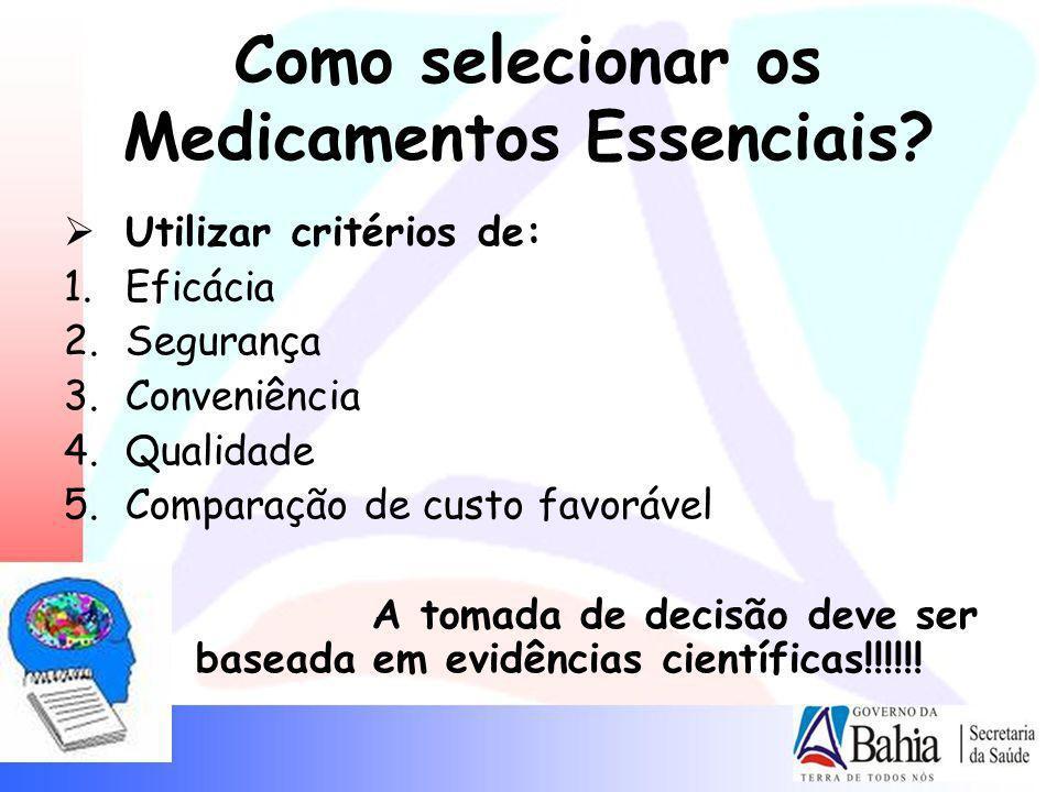 Como selecionar os Medicamentos Essenciais