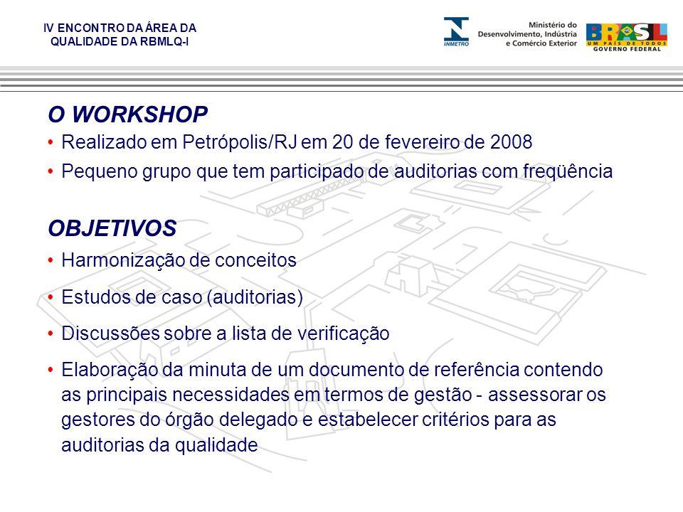 O WORKSHOP Realizado em Petrópolis/RJ em 20 de fevereiro de 2008. Pequeno grupo que tem participado de auditorias com freqüência.