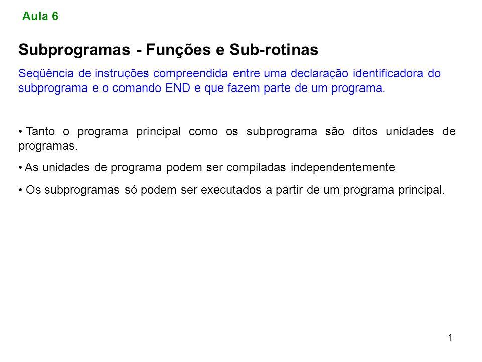 Subprogramas - Funções e Sub-rotinas