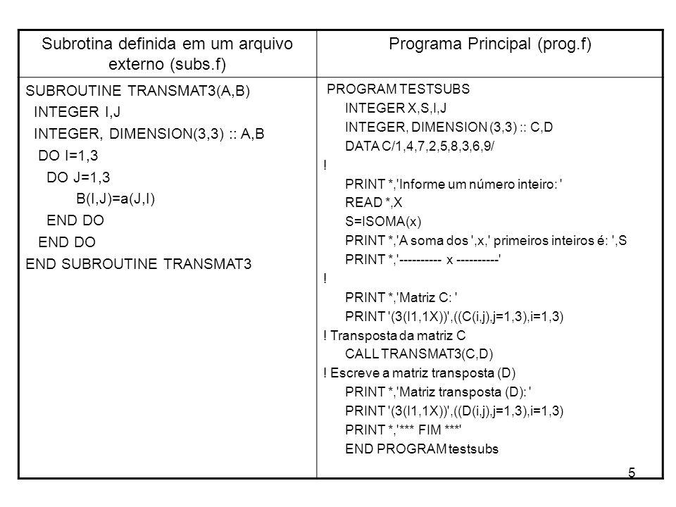 Subrotina definida em um arquivo externo (subs.f)