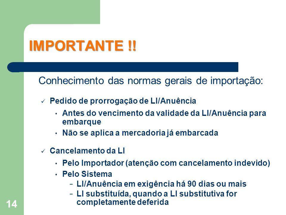 Conhecimento das normas gerais de importação: