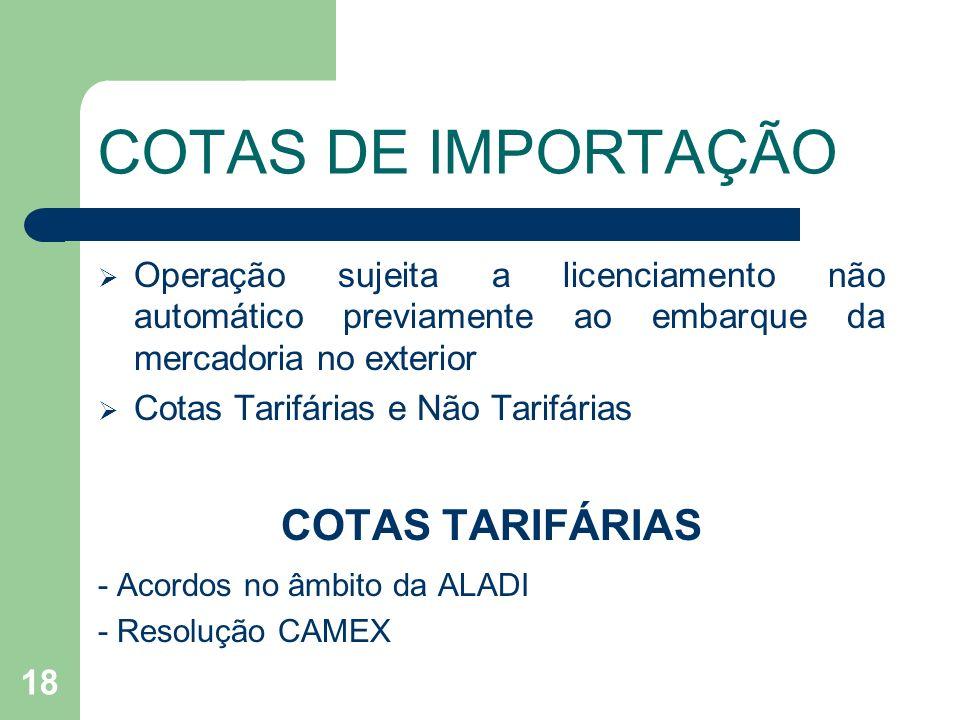 COTAS DE IMPORTAÇÃO COTAS TARIFÁRIAS