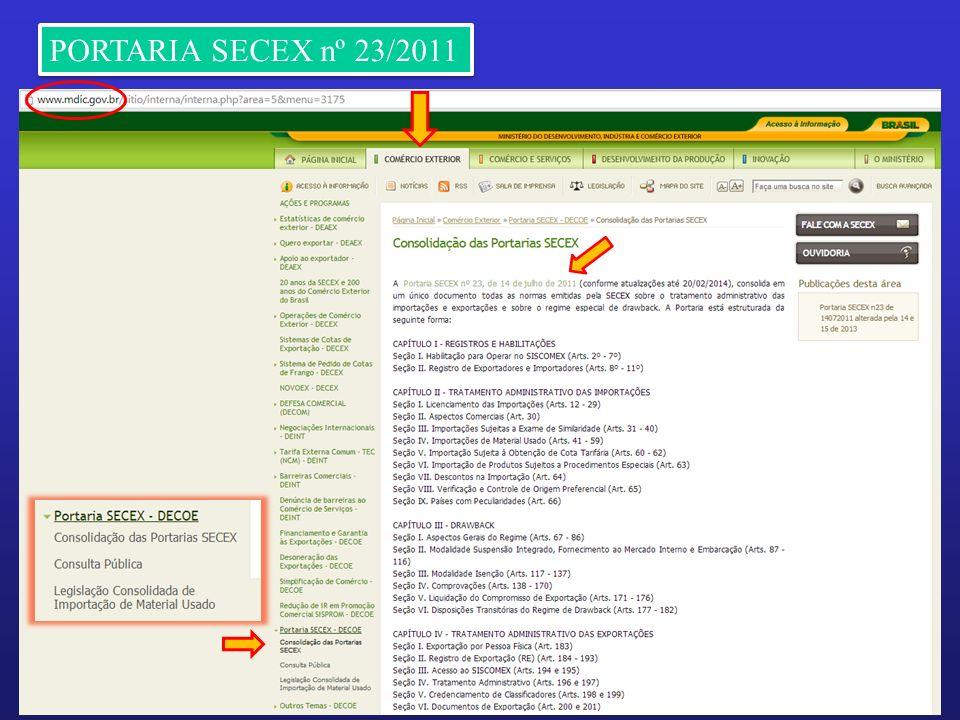 PORTARIA SECEX nº 23/2011