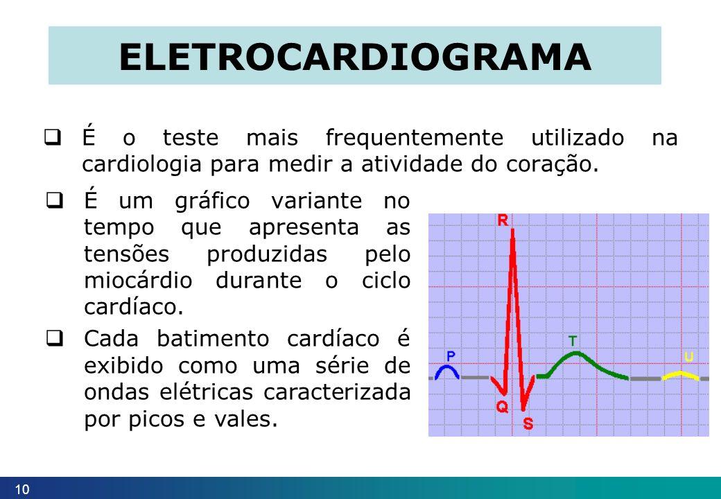 eletrocardiograma É o teste mais frequentemente utilizado na cardiologia para medir a atividade do coração.
