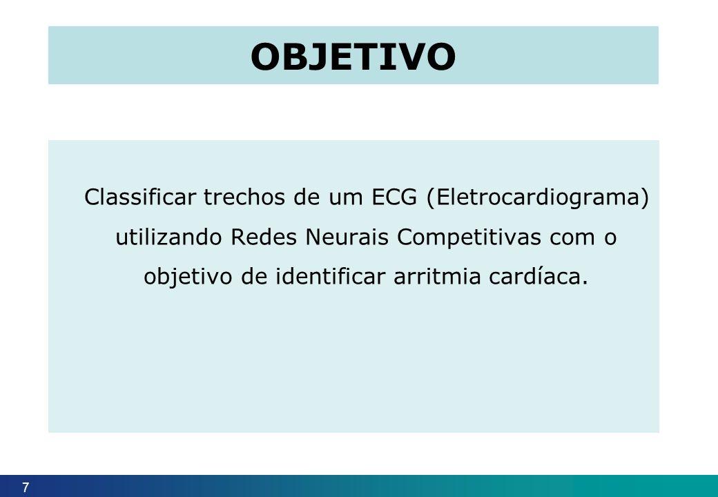 objetivo Classificar trechos de um ECG (Eletrocardiograma) utilizando Redes Neurais Competitivas com o objetivo de identificar arritmia cardíaca.