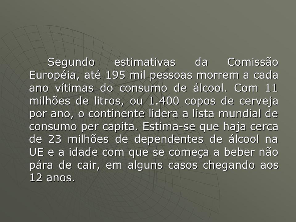 Segundo estimativas da Comissão Européia, até 195 mil pessoas morrem a cada ano vítimas do consumo de álcool.