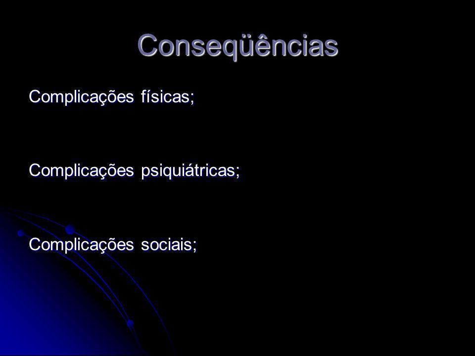 Conseqüências Complicações físicas; Complicações psiquiátricas;