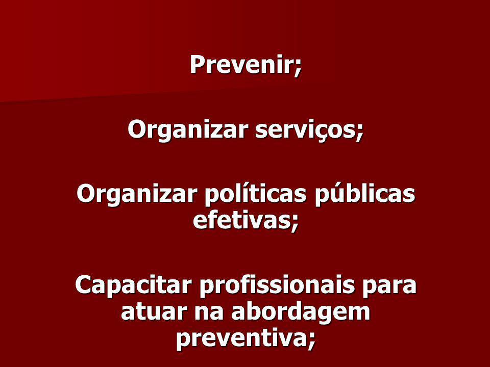 Organizar políticas públicas efetivas;