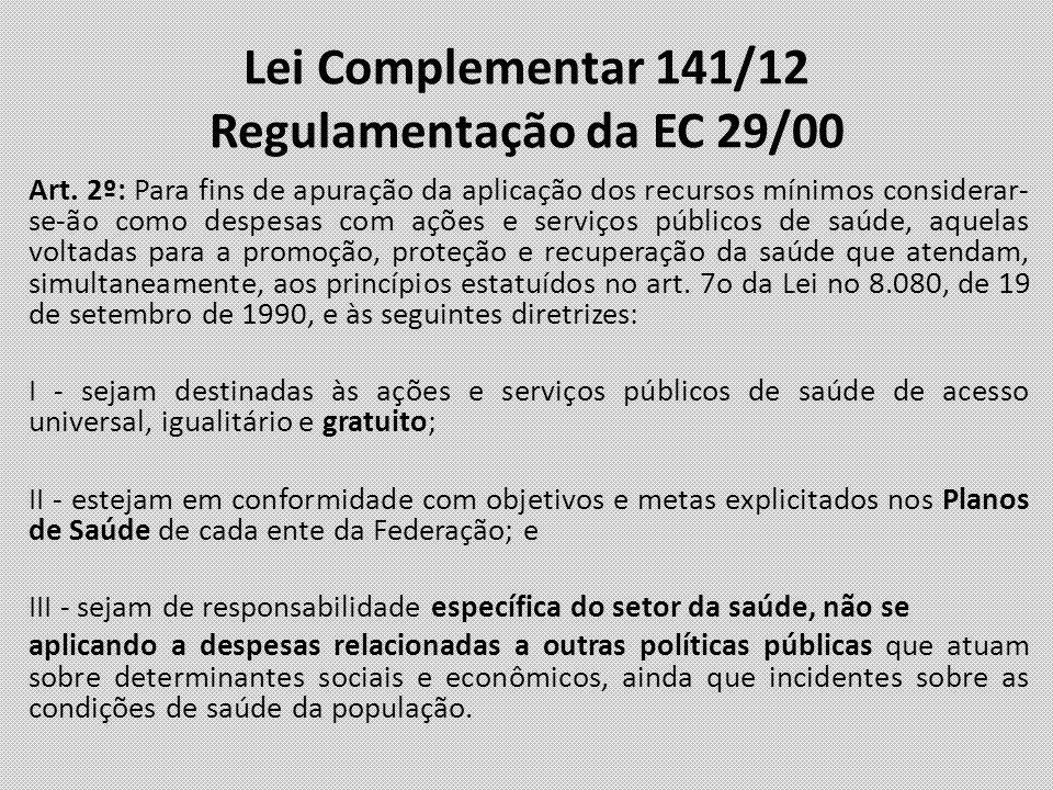 Lei Complementar 141/12 Regulamentação da EC 29/00