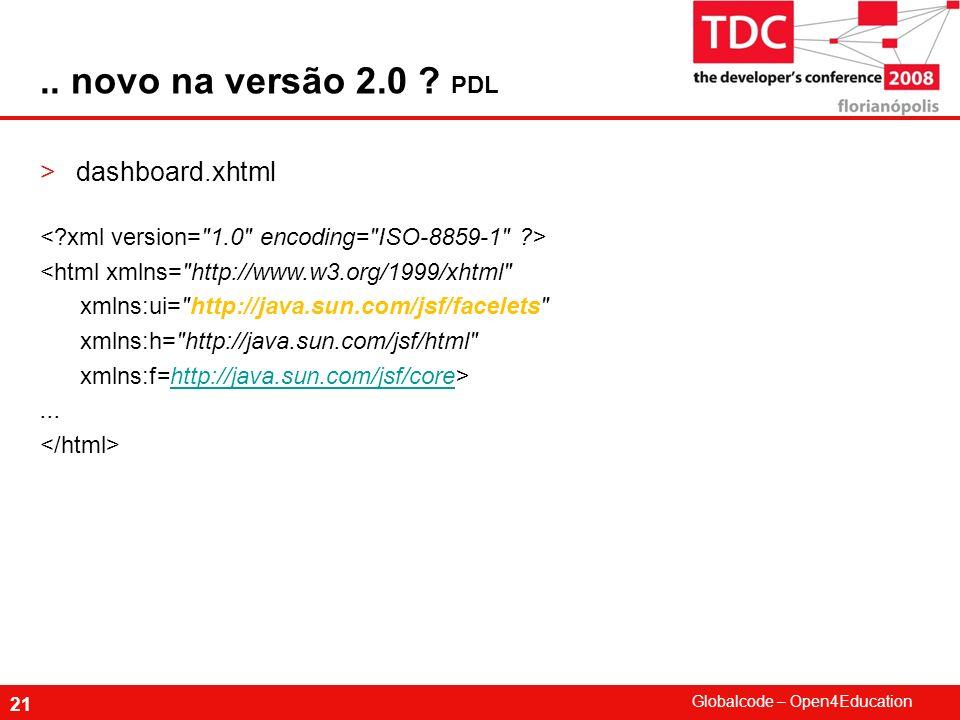 .. novo na versão 2.0 PDL dashboard.xhtml