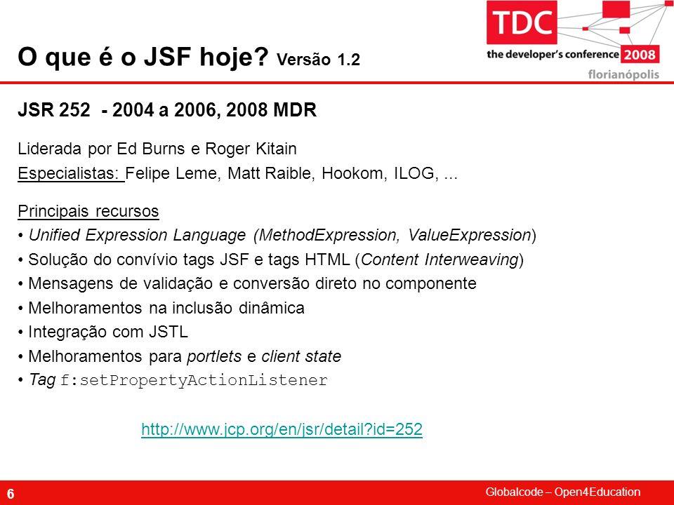 O que é o JSF hoje Versão 1.2 JSR 252 - 2004 a 2006, 2008 MDR