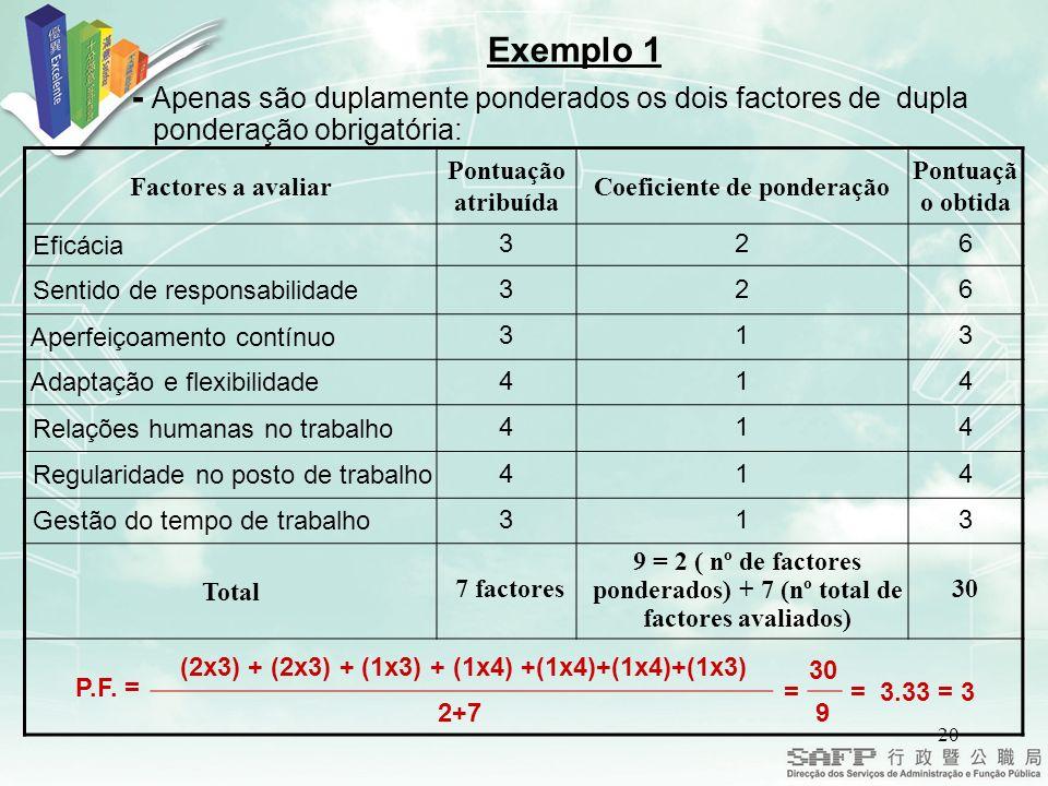 Exemplo 1 - Apenas são duplamente ponderados os dois factores de dupla ponderação obrigatória: Factores a avaliar.