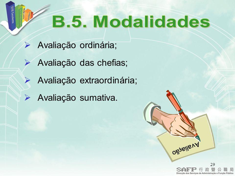 B.5. Modalidades Avaliação ordinária; Avaliação das chefias;