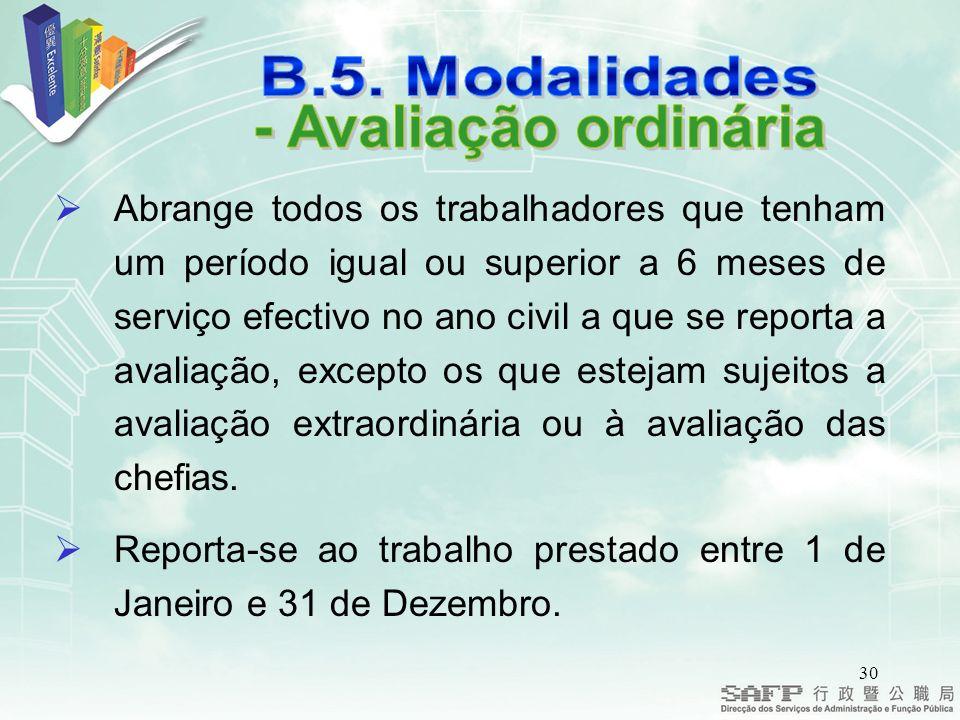 - Avaliação ordinária B.5. Modalidades