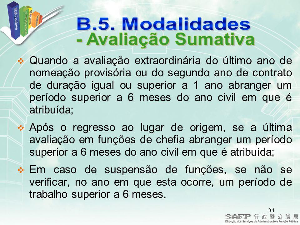 B.5. Modalidades - Avaliação Sumativa