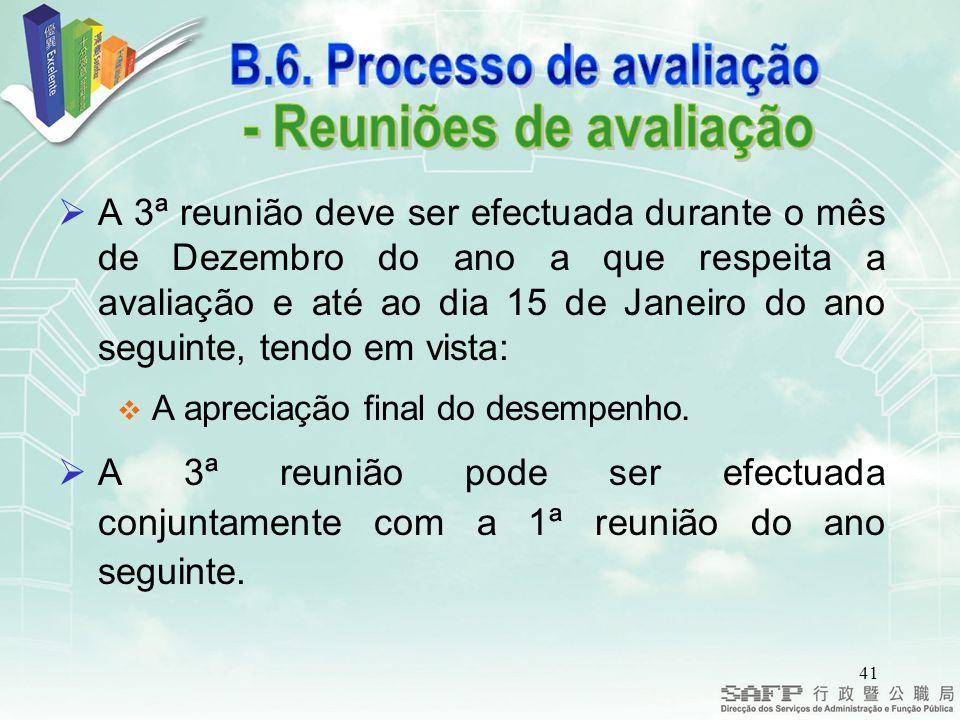 B.6. Processo de avaliação - Reuniões de avaliação