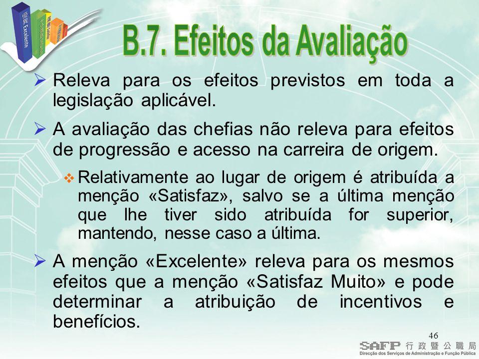B.7. Efeitos da Avaliação Releva para os efeitos previstos em toda a legislação aplicável.