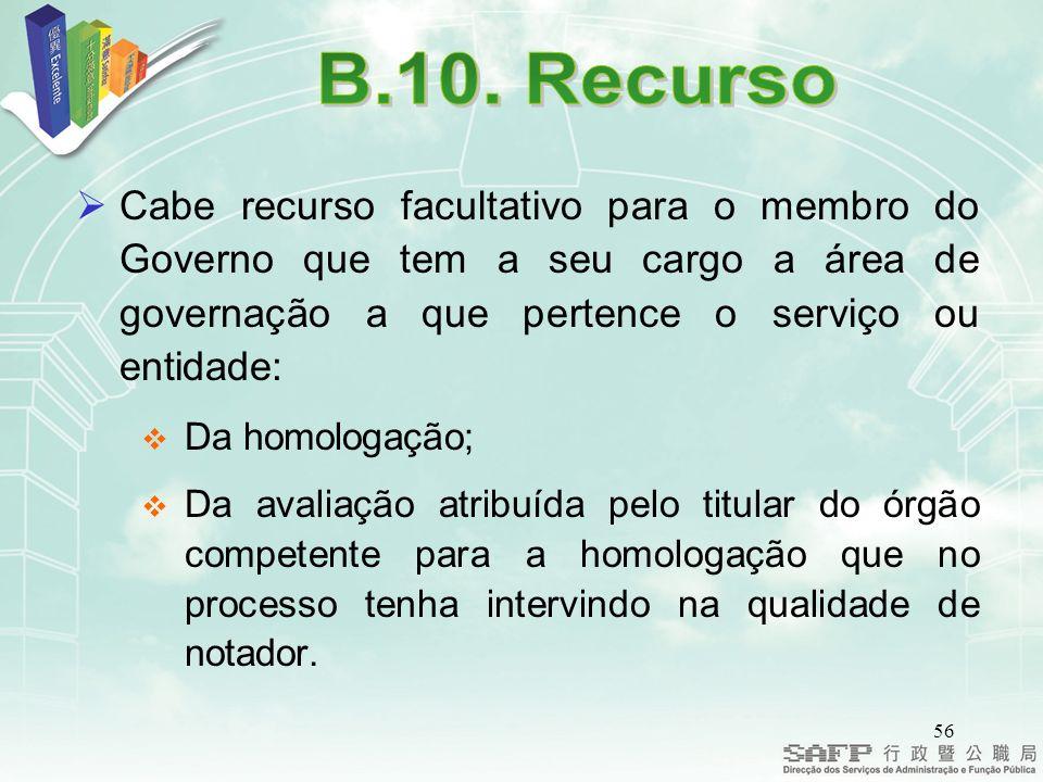 B.10. Recurso Cabe recurso facultativo para o membro do Governo que tem a seu cargo a área de governação a que pertence o serviço ou entidade: