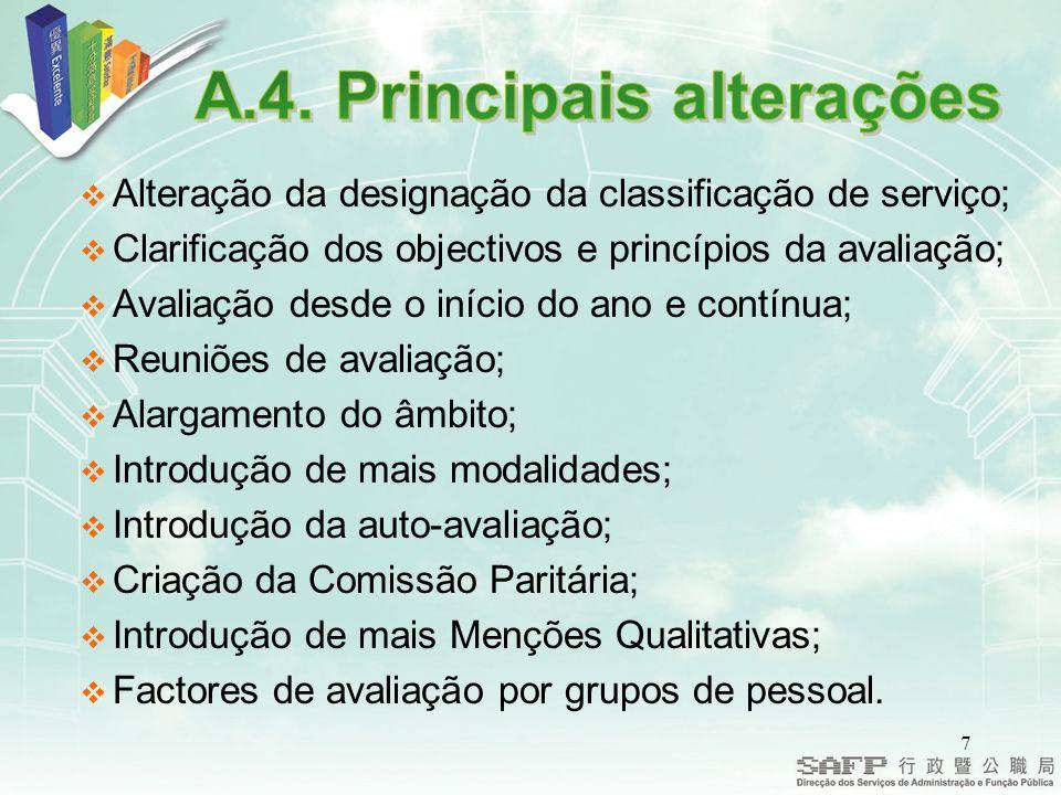A.4. Principais alterações