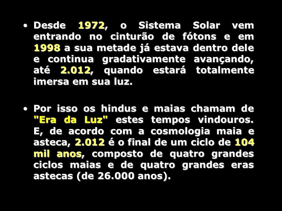 Desde 1972, o Sistema Solar vem entrando no cinturão de fótons e em 1998 a sua metade já estava dentro dele e continua gradativamente avançando, até 2.012, quando estará totalmente imersa em sua luz.