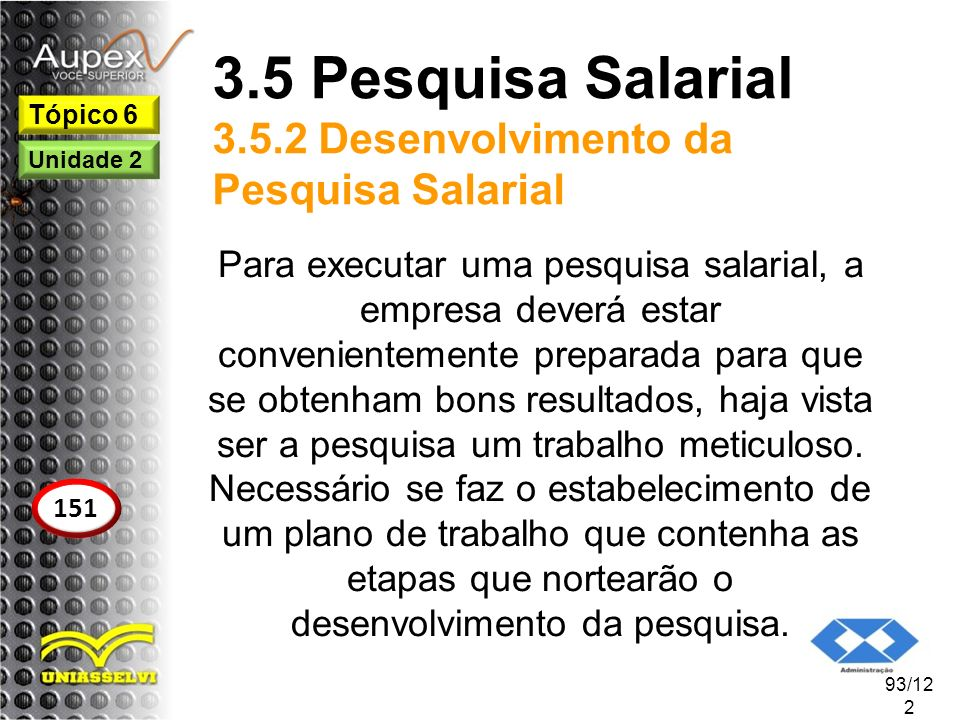 3.5 Pesquisa Salarial 3.5.2 Desenvolvimento da Pesquisa Salarial