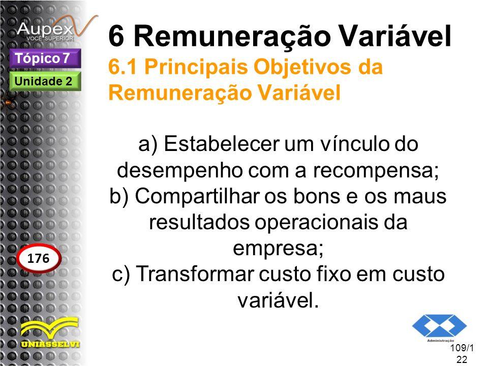 6 Remuneração Variável 6.1 Principais Objetivos da Remuneração Variável