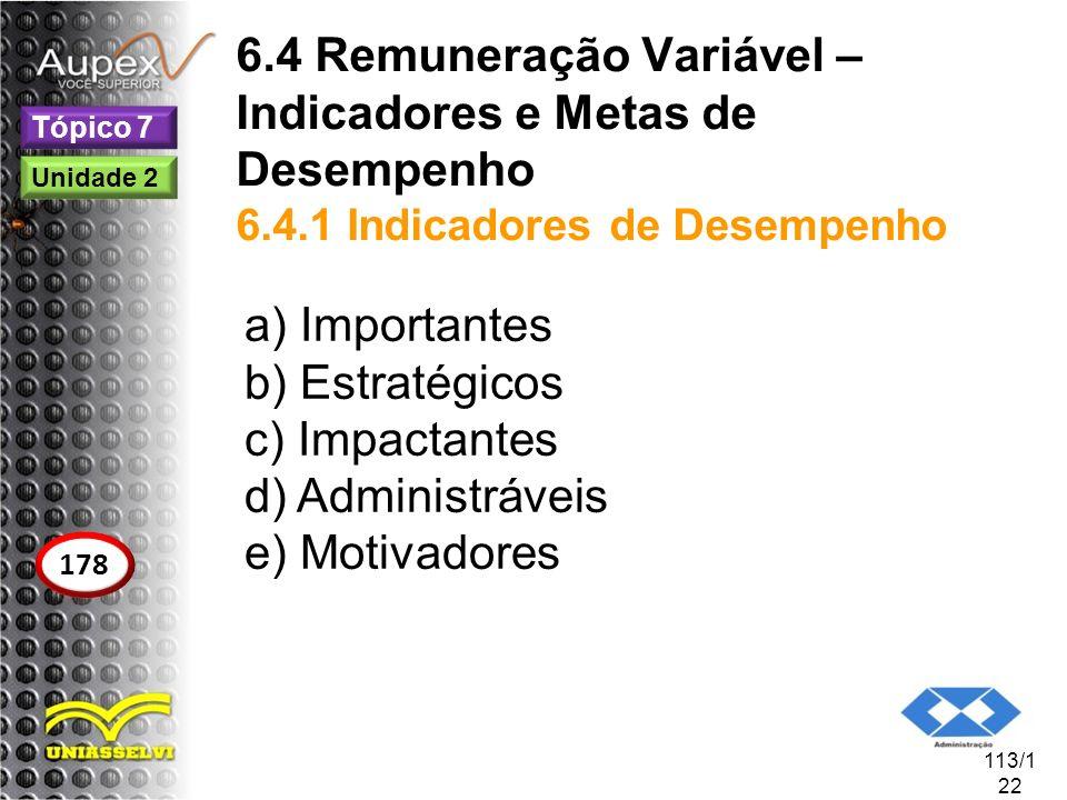 6. 4 Remuneração Variável – Indicadores e Metas de Desempenho 6. 4
