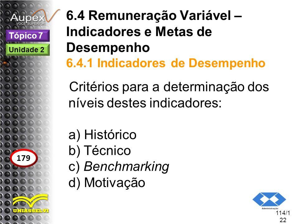 Critérios para a determinação dos níveis destes indicadores:
