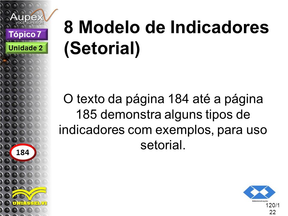 8 Modelo de Indicadores (Setorial)