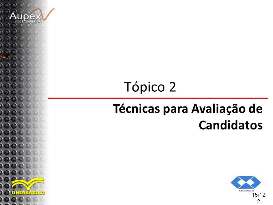 Tópico 2 Técnicas para Avaliação de Candidatos 15/122