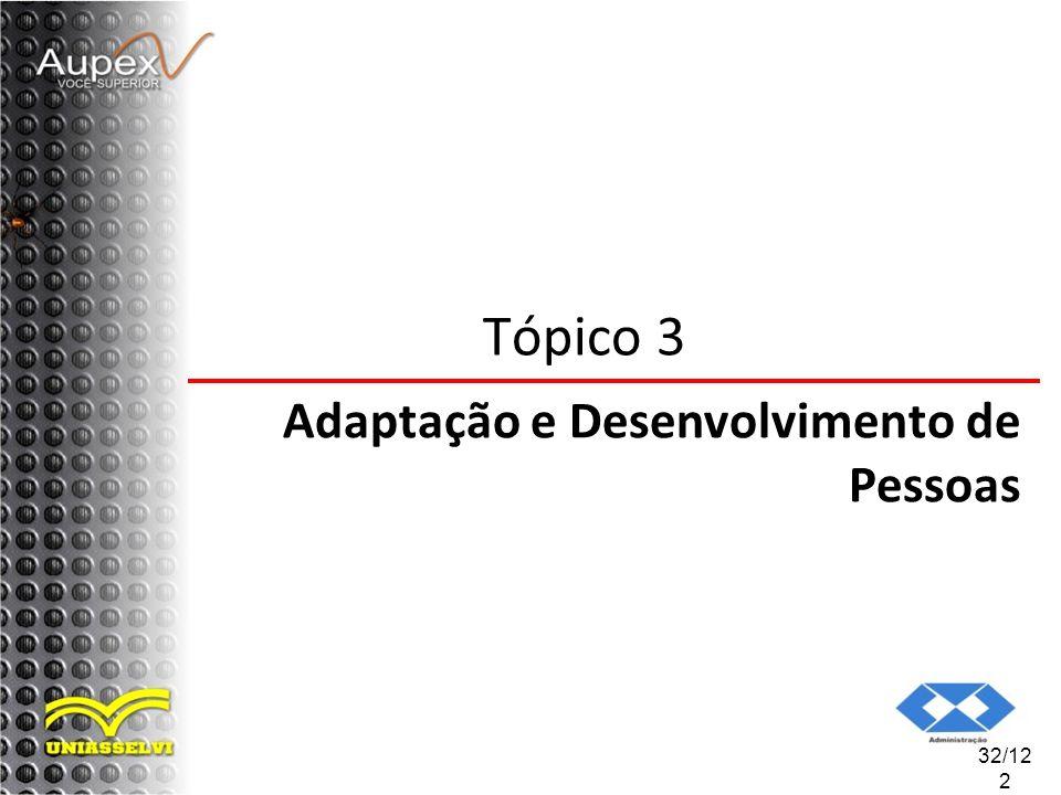 Tópico 3 Adaptação e Desenvolvimento de Pessoas 32/122