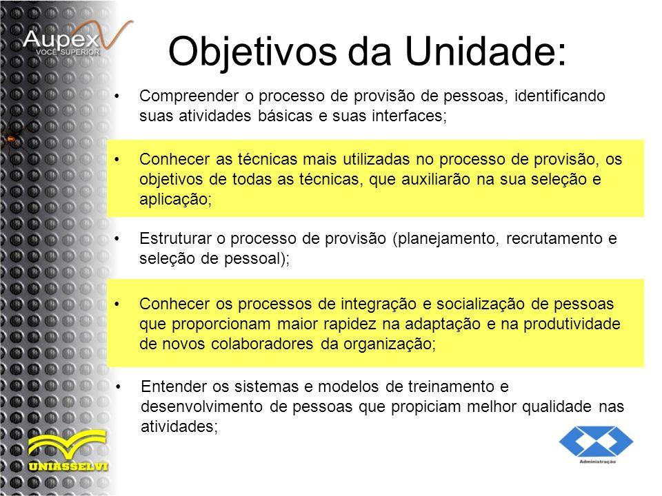 Objetivos da Unidade: Compreender o processo de provisão de pessoas, identificando suas atividades básicas e suas interfaces;