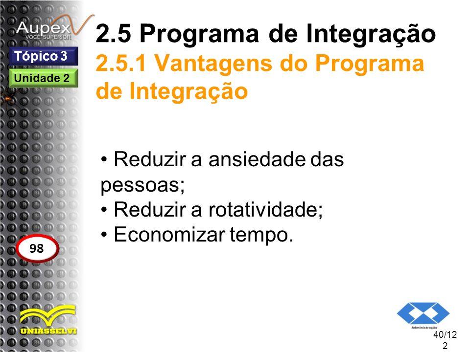 2.5 Programa de Integração 2.5.1 Vantagens do Programa de Integração