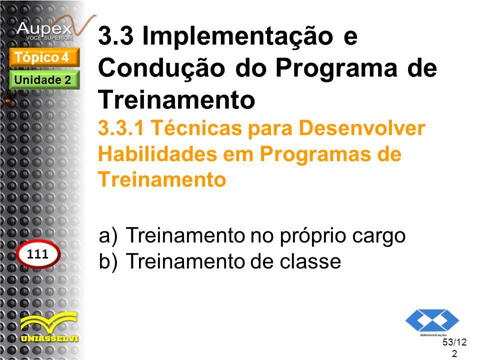 3. 3 Implementação e Condução do Programa de Treinamento 3. 3